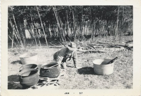 grandpa brooks getting ready to kill a pig